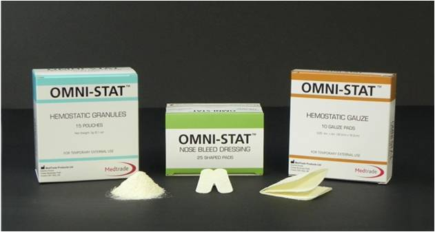 Omni-Stat hemostat product range shoeing Omni-stat granules gauze and nose-bleed pad